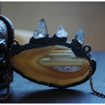 Přívěsek Ledovec - měď, achát, krystal