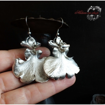 Silver-plated ORCHID FLOWER - earrings