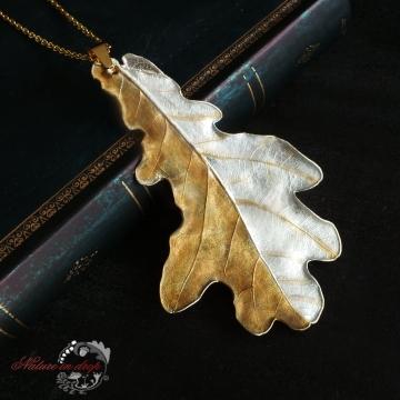 Zlacený dubový list - přívěsek
