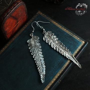 Silver-plated fern - earrings