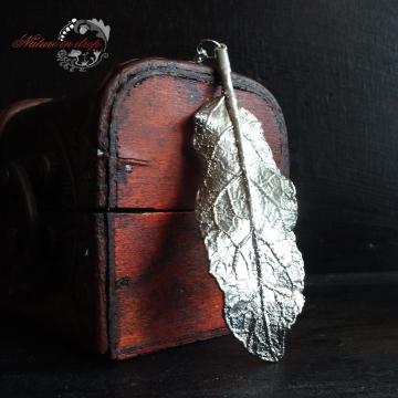 Postříbřený list šalvěje - přívěsek