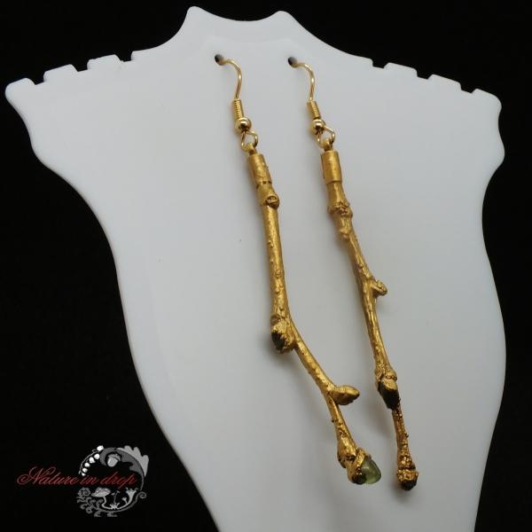 Pozlacené větvičkové náušnice s olivínem