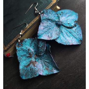 Plated hydrangea - earrings