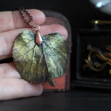 Plated linden leaf - pendant