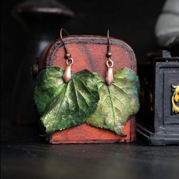 Plated linden leaves - earrings