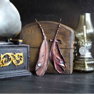 Plated feather - earrings