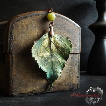 Copper plated BIRCH pendant with olivine