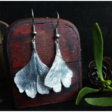 Earrings - ginkgo leaves in silver