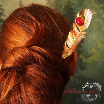 Plated feather hairpin