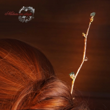 Hairpin from linden twig with moldavite