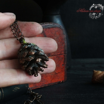 Plated pine cone - pendant