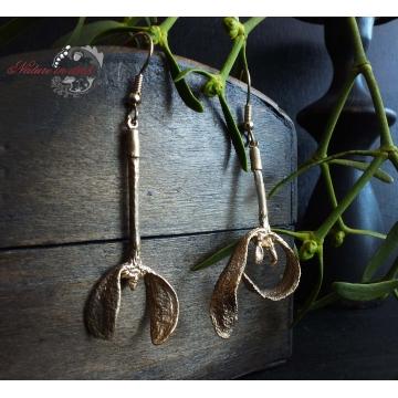 Gilded mistletoe - earrings