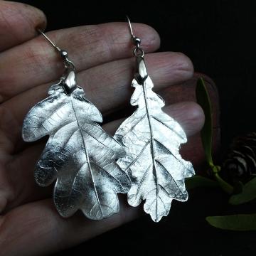 Silver-plated oak earrings