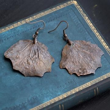 Plated poplar leaves - earrings